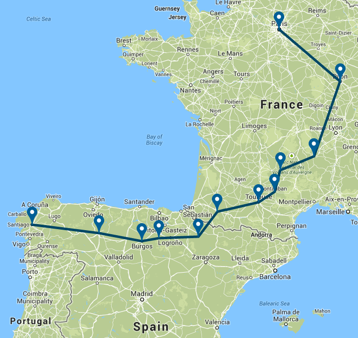 Map Medieval France Spain The Pilgrim Route ASA - Map of france and spain