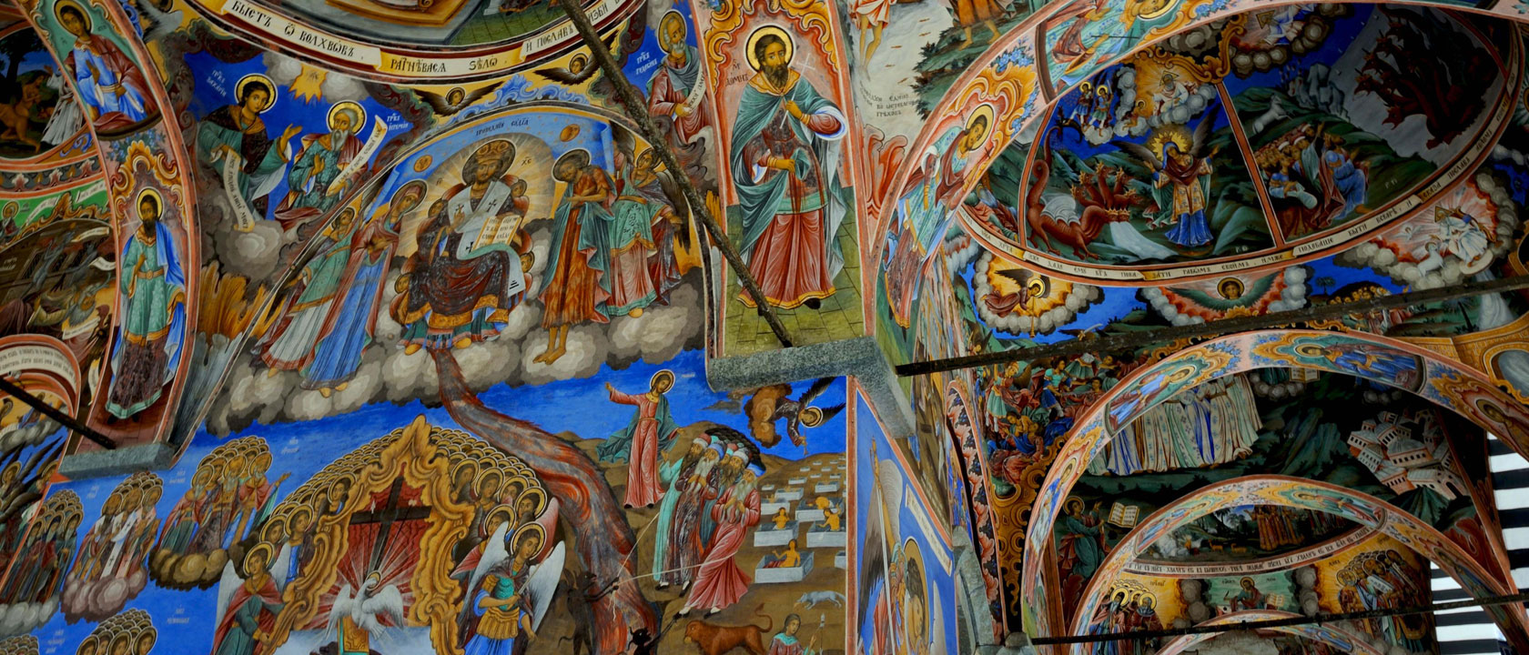 Frescoes, Portico of Rila Monastery, Bulgaria - by Christopher Wood