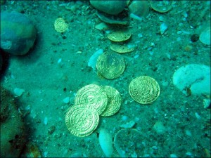Coins as found on the seabed at Caesarea National Park