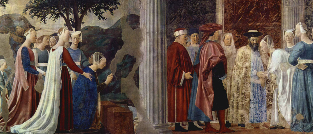 "Detail from the fresco cycle of the ""Legend of the Holy Cross"" in the choir of the Basilica of San Francesco in Arezzo. Scene: The Queen of Sheba before King Solomon. Piero della Francesca [Public domain or Public domain], via Wikimedia Commons"