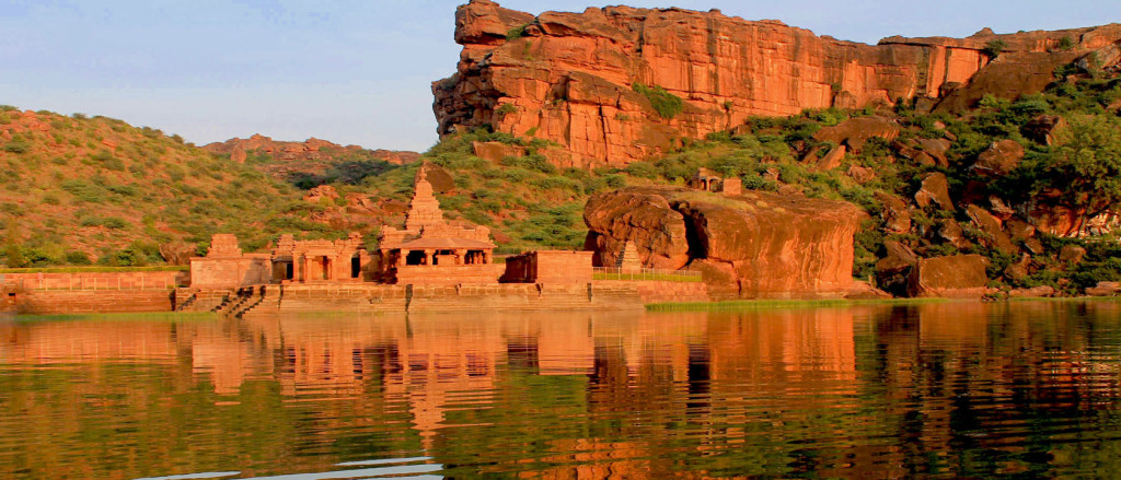Badami Cave Temple, India Bhutanatha group of Temples facing the Badami Tank